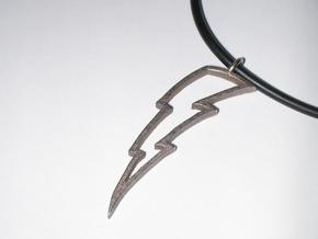 Lightning Bolt Pendant in Polished Bronzed Silver Steel