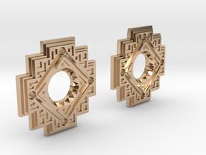 Inca Cross Earrings in 14k Rose Gold Plated Brass: Small