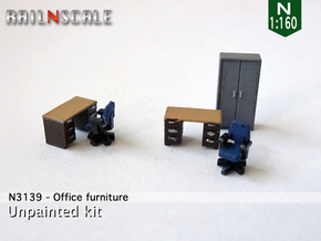 Office furniture (N 1:160) in Smooth Fine Detail Plastic