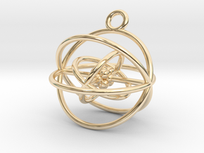 Oxygen atom (large) in 14k Gold Plated Brass
