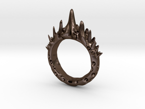 Abstract - Ring 10 - Spiked  in Polished Bronze Steel