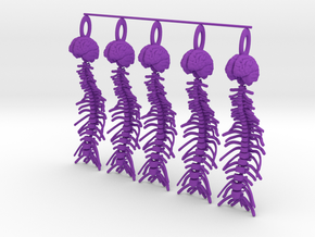 Brain and Spine...necklace pendant! in Purple Processed Versatile Plastic