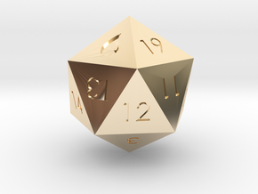 D20 Blue Mana Symbol (MTG) in 14k Gold Plated Brass: Extra Small