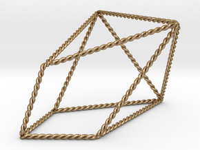 "Twisted Chestahedron 2.2"" in Polished Gold Steel"