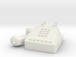 Miniature Telephone 1/6 Retro 80's 90's in White Strong & Flexible