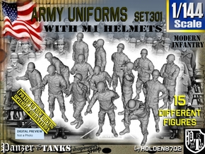 1/144 Modern Uniforms M1 Helmets Set301 in Smooth Fine Detail Plastic