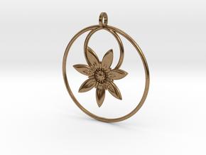 YyFlower Pendant in Natural Brass