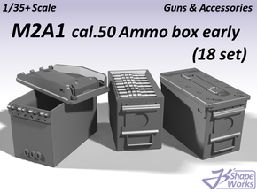 1/35+ M2A1 cal.50 Ammo Box Early type (18 set) in Frosted Extreme Detail: 1:35