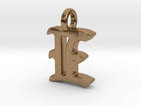 E - Pendant - 2mm thk. in Natural Brass