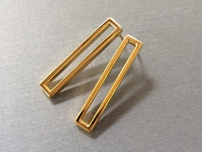 Long Geometric Post Earrings - Minimalist Design in 18k Gold Plated Brass