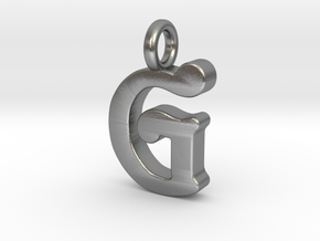 G - Pendant - 2mm thk. in Natural Silver