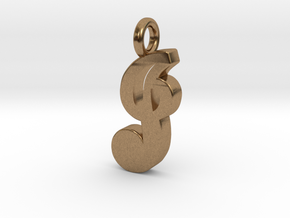 J - Pendant - 2mm thk. in Natural Brass