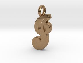 J - Pendant - 2mm thk. in Natural Brass