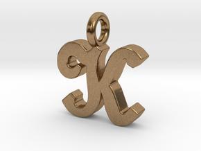 K - Pendant - 2mm thk. in Natural Brass