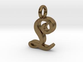 L - Pendant - 2mm thk. in Natural Bronze
