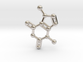 Theobromine (Chocolate) Molecule Necklace / Keycha in Platinum