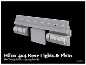 Simensays Tamiya Hilux 4x4 Rear Lights & Plate in White Processed Versatile Plastic