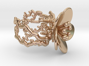 Flower ring (US sizes 5.75 – 9.75) in 14k Rose Gold Plated Brass: 9.25 / 59.625