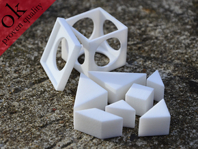 tangram cube (small edition) in White Strong & Flexible Polished