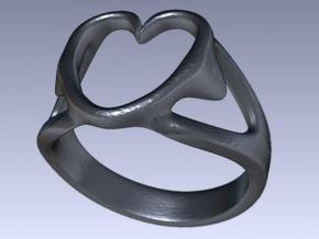 3-Heart Ring in White Natural Versatile Plastic