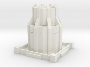 Alternative Steampunk Dystopian Defense Tower in White Natural Versatile Plastic