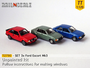 SET 3x Ford Escort Mk3 (TT 1:120) in Smooth Fine Detail Plastic