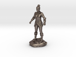 Female Human Fighter with Elven influenced armor. in Polished Bronzed Silver Steel