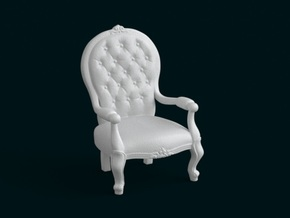 1:10 Scale Model - ArmChair 02 in White Natural Versatile Plastic