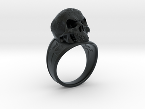 Silver Skull Ring Engraved Size 12 in Black Hi-Def Acrylate