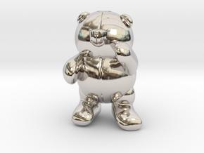 Pocket bear in Rhodium Plated Brass