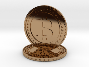 Sculpture bitcoin in Polished Brass