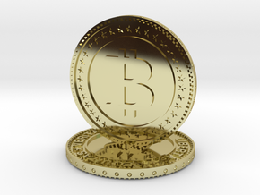 Sculpture bitcoin in 18k Gold Plated Brass