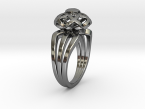 3-2 Enneper Curve Triple Ring (003) in Fine Detail Polished Silver