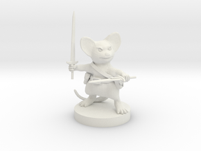 Mousefolk Fighter in White Strong & Flexible