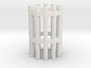 Duckdalben 12er rund ohne Innenstreben 1:120 in White Natural Versatile Plastic
