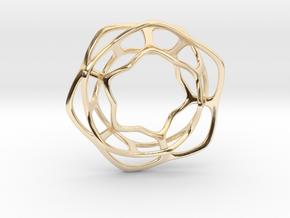 Hex Möbius, 32mm in 14K Yellow Gold