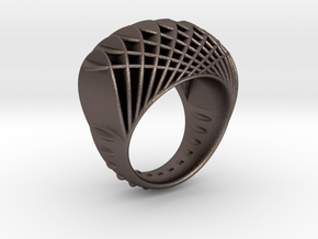 ring-dubbelbol-metaal / double concave metal in Polished Bronzed Silver Steel: 6.5 / 52.75
