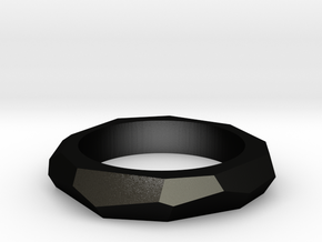 faceted ring in Matte Black Steel