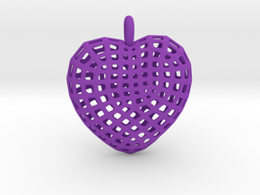 06 - Mesh Heart  in Purple Strong & Flexible Polished: Large