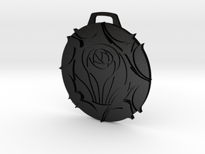 Laurent Crest Keychain/Pendant in Matte Black Steel