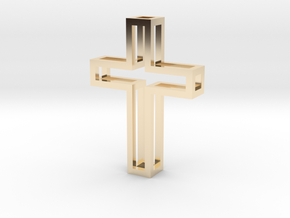 Silhouette Cross Pendant in 14k Gold Plated Brass