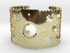Inca Cross Wide Cuff Bracelet in 18k Gold Plated Brass: Small
