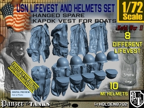 1/72 USN Hanged Lifevest and Helmets Set001 in Smoothest Fine Detail Plastic