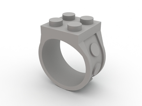 Brick Ring-4 Stud in White Strong & Flexible Polished