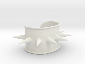 "Spiked Cuff - Bent (for wrists 2.25""Wx1.5""H) in White Natural Versatile Plastic"