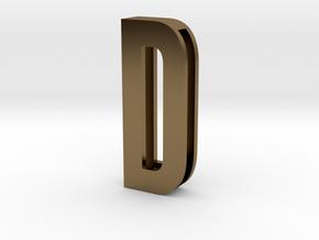 Choker Slide Letters (4cm) - Letter D in Polished Bronze