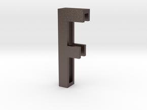 Choker Slide Letters (4cm) - Letter F in Polished Bronzed Silver Steel