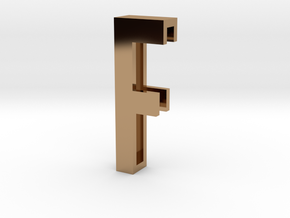 Choker Slide Letters (4cm) - Letter F in Polished Brass