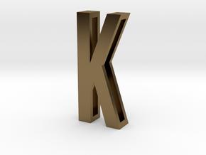 Choker Slide Letters (4cm) - Letter K in Polished Bronze