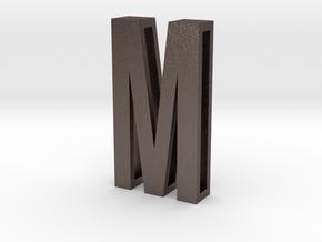 Choker Slide Letters (4cm) - Letter M in Polished Bronzed Silver Steel